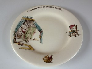 "Gien children's series hand painted dish dating from between 1971-1984.  Little Red Riding Hood saying ""oh, what big eyes you have""."