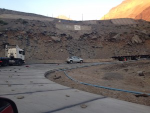 They have to put the rocks on the inside of the curves to stop the trucks from cutting the turns